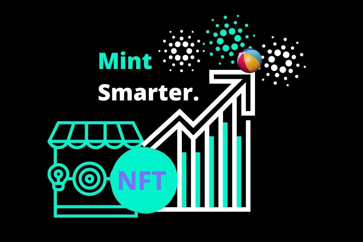 """New NFT Marketplace Blog Graphic with Text """"Mint Smarter"""" and Rising Value Chart"""