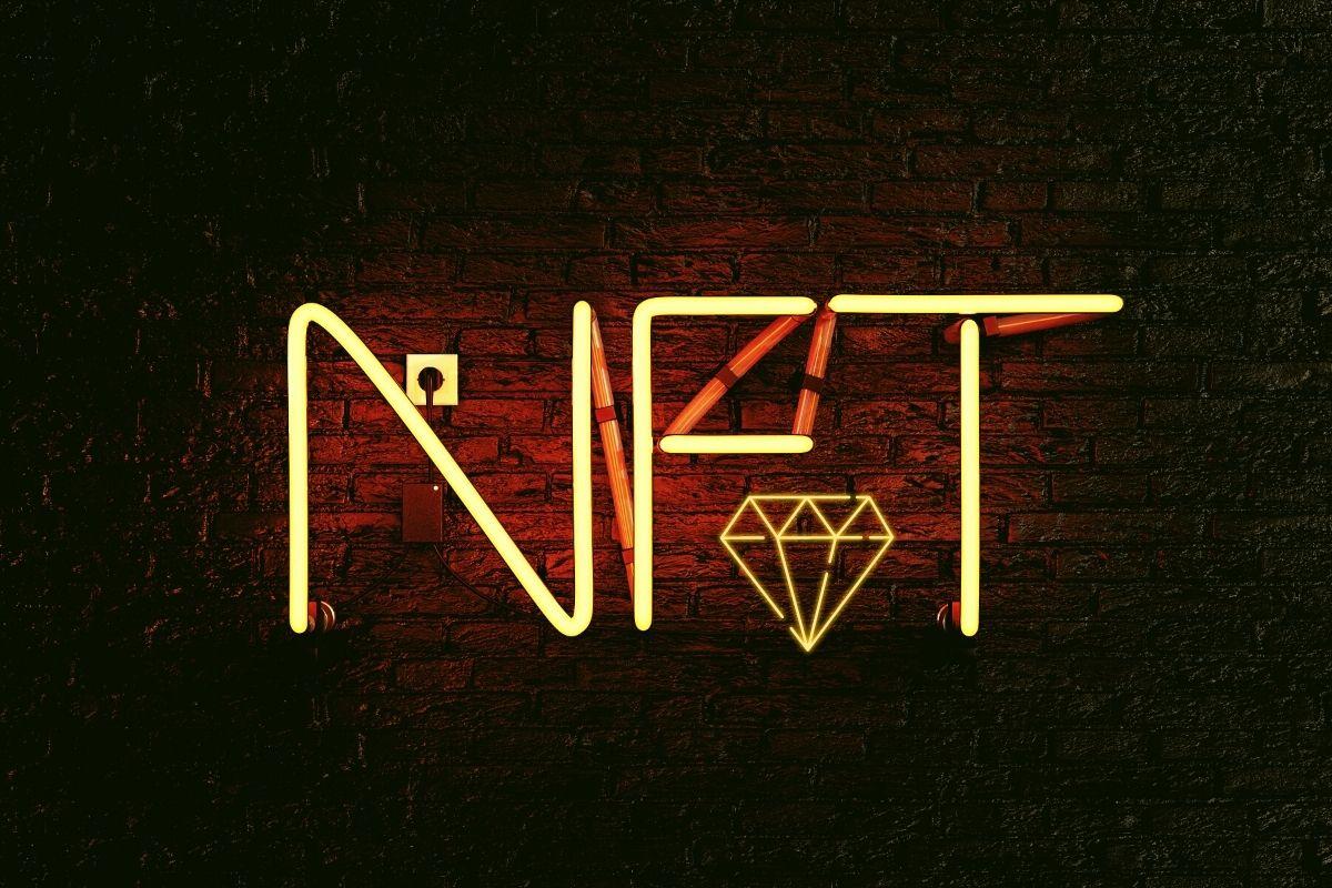 NFT & Diamond Neon on Dark Brick